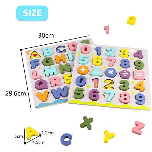 Giochi Bambini Puzzle Legno Bambina Bambino 2 3 4 Anni 2 In 1 Puzzle Lettere Numero Set Montessori Educativi Regalo Multicolore 0 2