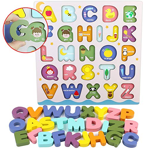 Giochi Bambini Puzzle Legno Bambina Bambino 2 3 4 Anni 2 In 1 Puzzle Lettere Numero Set Montessori Educativi Regalo Multicolore 0 3