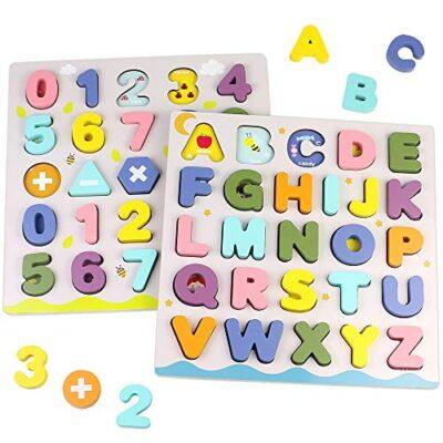 Giochi Bambini Puzzle Legno Bambina Bambino 2 3 4 Anni 2 In 1 Puzzle Lettere Numero Set Montessori Educativi Regalo Multicolore 0