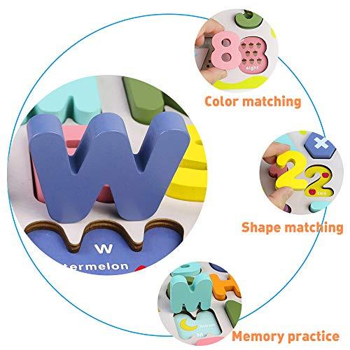 Giochi Bambini Puzzle Legno Bambina Bambino 2 3 4 Anni 2 In 1 Puzzle Lettere Numero Set Montessori Educativi Regalo Multicolore 0 5
