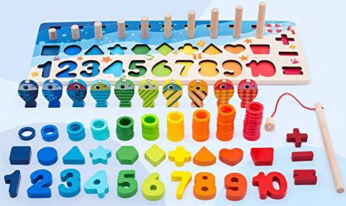 Giochi Educativi Montessori Gioco Pesca Magnetica In Legno Per Imparare I Colori E La Matematica 0 1