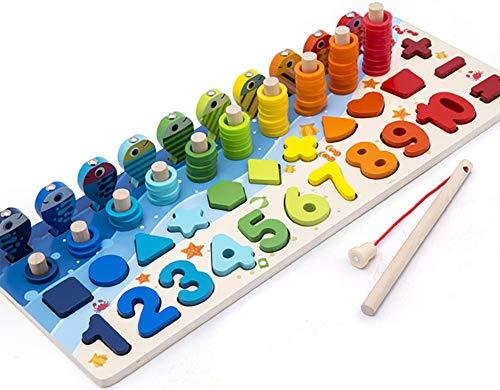 Giochi Educativi Montessori Gioco Pesca Magnetica In Legno Per Imparare I Colori E La Matematica 0