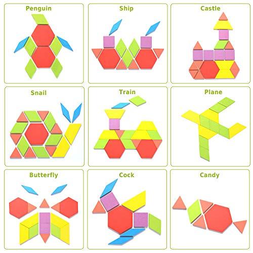 Helldoler 155 Blocchi Modello In Legno Set Puzzle Di Forma Geometrica Classico Grafico Educativo Tangram Montessori Giocattoli Con 24 Pezzi Di Carte Di Design Per Bambini 0 0