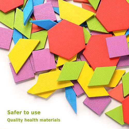 Helldoler 155 Blocchi Modello In Legno Set Puzzle Di Forma Geometrica Classico Grafico Educativo Tangram Montessori Giocattoli Con 24 Pezzi Di Carte Di Design Per Bambini 0 1