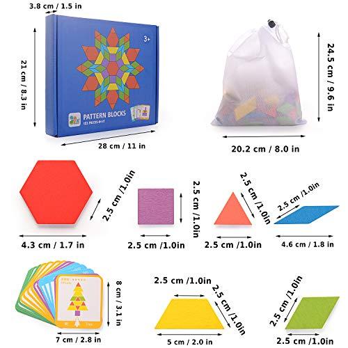 Helldoler 155 Blocchi Modello In Legno Set Puzzle Di Forma Geometrica Classico Grafico Educativo Tangram Montessori Giocattoli Con 24 Pezzi Di Carte Di Design Per Bambini 0 2