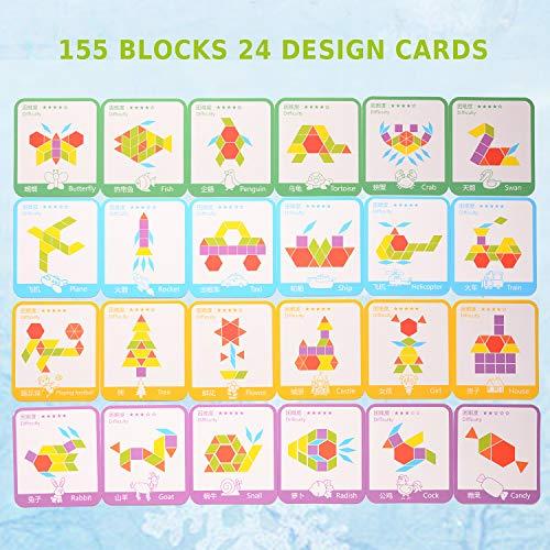 Helldoler 155 Blocchi Modello In Legno Set Puzzle Di Forma Geometrica Classico Grafico Educativo Tangram Montessori Giocattoli Con 24 Pezzi Di Carte Di Design Per Bambini 0 3
