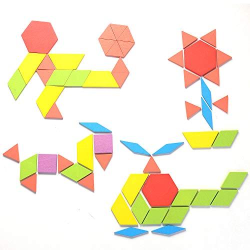 Helldoler 155 Blocchi Modello In Legno Set Puzzle Di Forma Geometrica Classico Grafico Educativo Tangram Montessori Giocattoli Con 24 Pezzi Di Carte Di Design Per Bambini 0 4