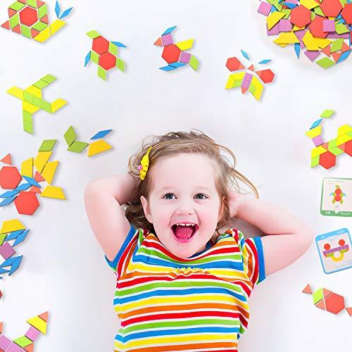 Helldoler 155 Blocchi Modello In Legno Set Puzzle Di Forma Geometrica Classico Grafico Educativo Tangram Montessori Giocattoli Con 24 Pezzi Di Carte Di Design Per Bambini 0 5