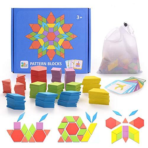 Helldoler 155 Blocchi Modello In Legno Set Puzzle Di Forma Geometrica Classico Grafico Educativo Tangram Montessori Giocattoli Con 24 Pezzi Di Carte Di Design Per Bambini 0
