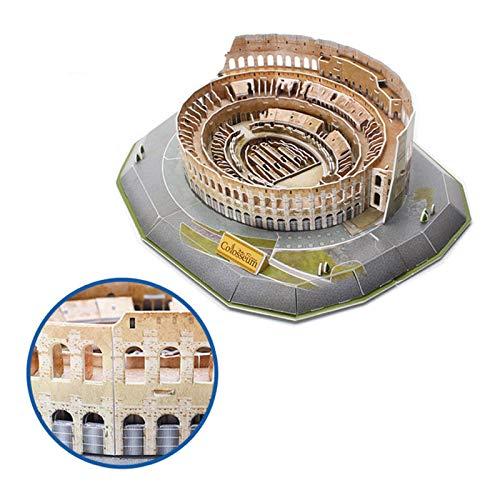 Jeanmiss Puzzle 3d Colosseo 185 Pezzigiochi Puzzle 3d Dimensionale Famiglie Con Luci Colorate Ledkit Costruzione Modello Architettura Carta Giocattoli Educativi Regalo Diy Per Adulti E Bambini 0 1