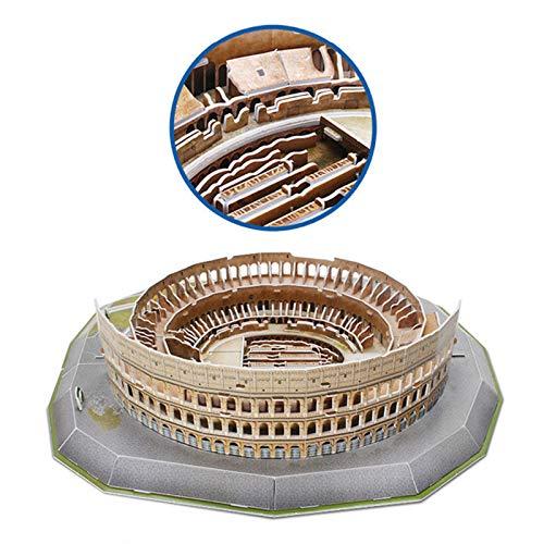Jeanmiss Puzzle 3d Colosseo 185 Pezzigiochi Puzzle 3d Dimensionale Famiglie Con Luci Colorate Ledkit Costruzione Modello Architettura Carta Giocattoli Educativi Regalo Diy Per Adulti E Bambini 0 2