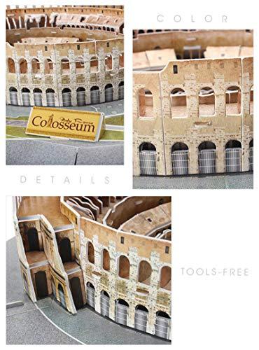 Jeanmiss Puzzle 3d Colosseo 185 Pezzigiochi Puzzle 3d Dimensionale Famiglie Con Luci Colorate Ledkit Costruzione Modello Architettura Carta Giocattoli Educativi Regalo Diy Per Adulti E Bambini 0 4