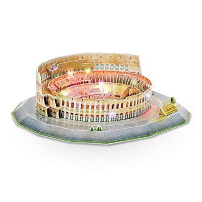 Jeanmiss Puzzle 3d Colosseo 185 Pezzigiochi Puzzle 3d Dimensionale Famiglie Con Luci Colorate Ledkit Costruzione Modello Architettura Carta Giocattoli Educativi Regalo Diy Per Adulti E Bambini 0
