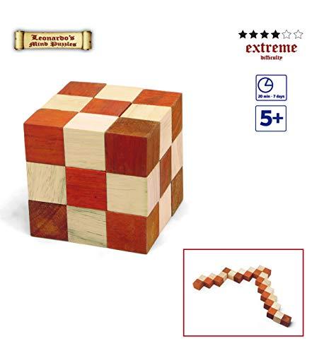 Logica Giochi Art Serpentino Arancione Rompicapo In Legno 3d Il Serpente Che Diventa Un Cubo Difficolta 46 Estremo Serie Da Collezione Leonardo Da Vinci 0 0
