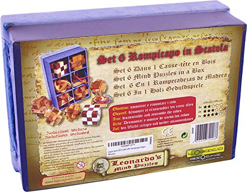 Logica Giochi Art Set Legno 6 In 1 Scatola In Carta Di Riso Rompicapo 3d In Legno Prezioso Tutte Le Difficolta Serie Da Collezione Leonardo Da Vinci 0 4