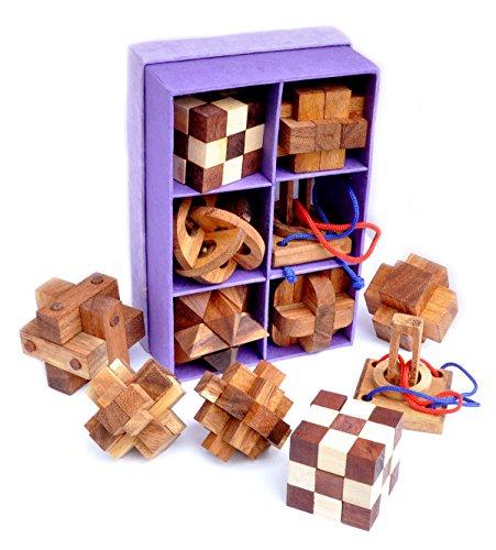 Logica Giochi Art Set Legno 6 In 1 Scatola In Carta Di Riso Rompicapo 3d In Legno Prezioso Tutte Le Difficolta Serie Da Collezione Leonardo Da Vinci 0