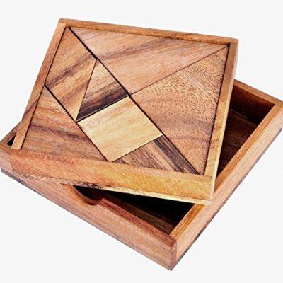 Logica Giochi Art Tangram Rompicapo Geometrico In Legno Gioco Educativo Per 12 Giocatori Scatola Richiudibile Medio 0
