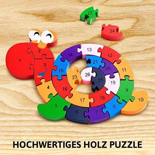 Lumaca Puzzle Con Numeri In Legno Numeri E Lettere Giocattolo Educativo Per Bambini Dai 3 Anni In Su 0 4