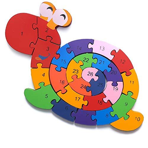 Lumaca Puzzle Con Numeri In Legno Numeri E Lettere Giocattolo Educativo Per Bambini Dai 3 Anni In Su 0