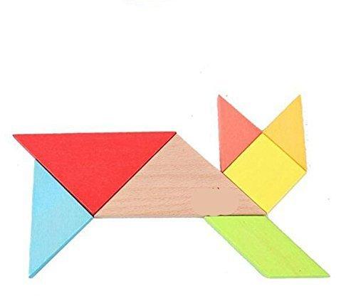 Ojin 7pcs Tangram In Legno Rompicapo Puzzle Educativo Per Lo Sviluppo Intellettuale Giocattolo Per Bambini 0 2