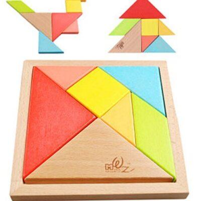 Ojin 7pcs Tangram In Legno Rompicapo Puzzle Educativo Per Lo Sviluppo Intellettuale Giocattolo Per Bambini 0