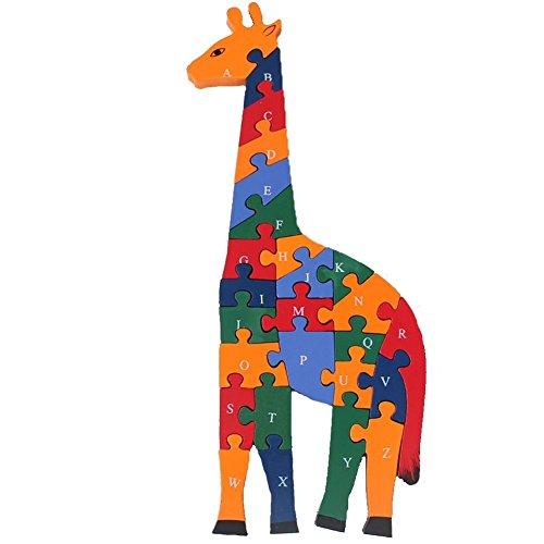Prow Numeri Giraffa In Legno A A Z A Doppia Faccia Gioco Puzzle Gioco Educativo Costruzione Bloccare Aumentare Lintelligenza Del Bambino 0