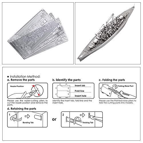 Piececool Kit Modello In Metallo Bismarck Battleship Puzzle 3d In Metallo Per Adulti 0 3