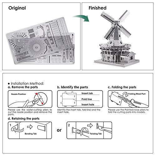 Piececool Metal Modello 3d Puzzle Olandese A Vento In Metallo Modello Per Risveglio 0 1