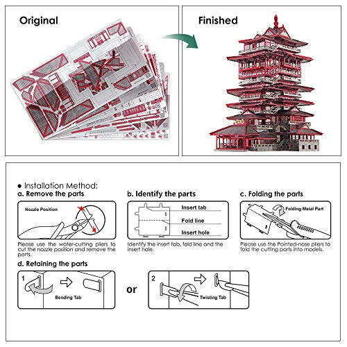 Piececool Yuewang Tower Puzzle In Metallo 3d Per Adulti 0 1
