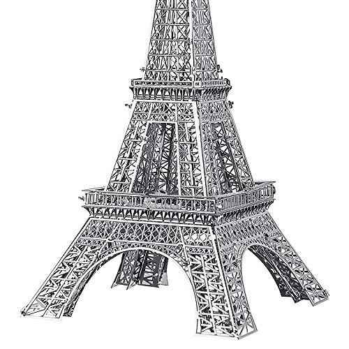 Pucecool 3d Laser Cut Diy Modello Architecturale Di Fama Mondiale Tradizionale In Metallo Puzzle Per Adulti Torre Eiffel 43 Pz Argento 0 0