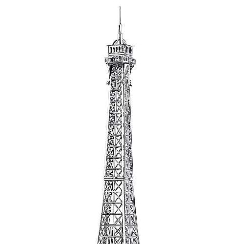 Pucecool 3d Laser Cut Diy Modello Architecturale Di Fama Mondiale Tradizionale In Metallo Puzzle Per Adulti Torre Eiffel 43 Pz Argento 0 1