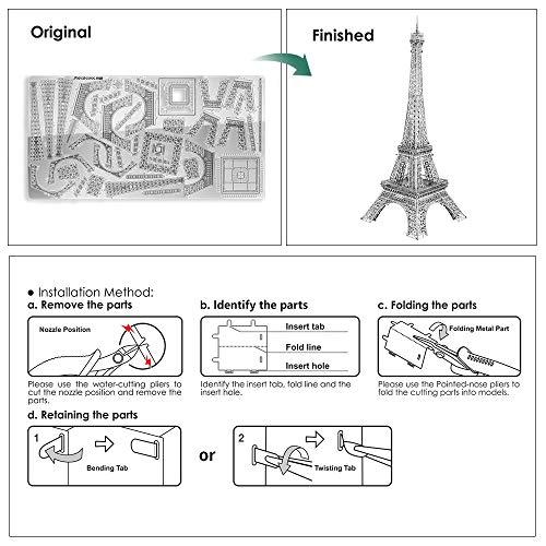 Pucecool 3d Laser Cut Diy Modello Architecturale Di Fama Mondiale Tradizionale In Metallo Puzzle Per Adulti Torre Eiffel 43 Pz Argento 0 2