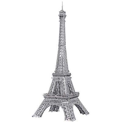 Pucecool 3d Laser Cut Diy Modello Architecturale Di Fama Mondiale Tradizionale In Metallo Puzzle Per Adulti Torre Eiffel 43 Pz Argento 0