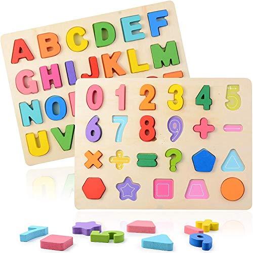 Puzzle Alfabeto 2 Pezzi Giocattolo Educativo In Legno Blocchi Alfabeto In Legno Abc Puzzle Lettere Numero Montessori Educativo Giocattolo Giochi Per Lapprendimento Precoce Per Bambini 2 3 4 Anni 0