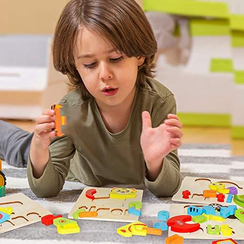 Puzzle In Legno Per Bambini 3d Giocattoli Prescolare Educativo Giochi Set Blocchi Giocattoli Montessori Regalo Per 1 Anno 2 3 4 Anni Ragazza Ragazzo 4 Pezzi Animali 0 3