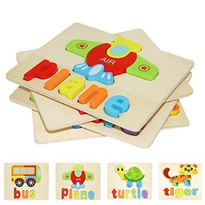 Puzzle In Legno Per Bambini 3d Giocattoli Prescolare Educativo Giochi Set Blocchi Giocattoli Montessori Regalo Per 1 Anno 2 3 4 Anni Ragazza Ragazzo 4 Pezzi Animali 0