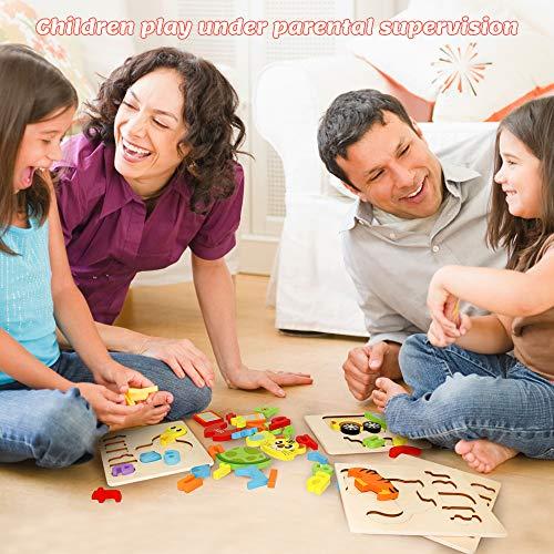 Puzzle In Legno Per Bambini 3d Giocattoli Prescolare Educativo Giochi Set Blocchi Giocattoli Montessori Regalo Per 1 Anno 2 3 4 Anni Ragazza Ragazzo 4 Pezzi Animali 0 5