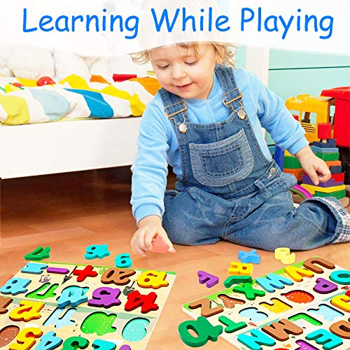 Puzzle In Legno Per Bambini 4 In 1 Alfabeto Numero Forma Orologio Giocattoli Da Puzzle Educativo Giocattoli Per Apprendimento Prescolare Regalo Di Compleanno Per Bambini Di 3 5 Anni 0 0