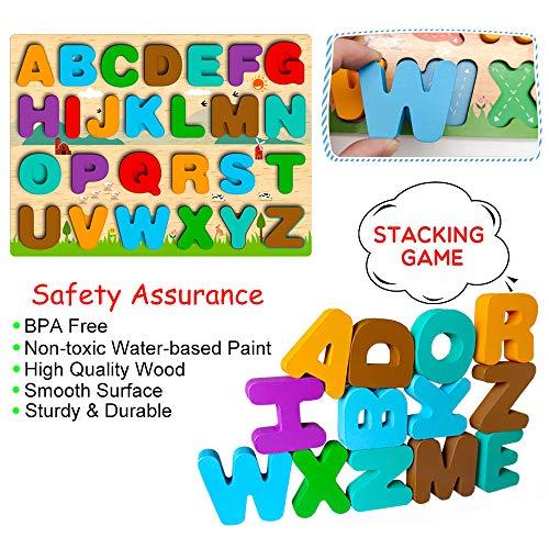 Puzzle In Legno Per Bambini 4 In 1 Alfabeto Numero Forma Orologio Giocattoli Da Puzzle Educativo Giocattoli Per Apprendimento Prescolare Regalo Di Compleanno Per Bambini Di 3 5 Anni 0 1