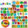 Puzzle In Legno Per Bambini 4 In 1 Alfabeto Numero Forma Orologio Giocattoli Da Puzzle Educativo Giocattoli Per Apprendimento Prescolare Regalo Di Compleanno Per Bambini Di 3 5 Anni 0