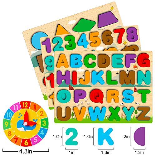 Puzzle In Legno Per Bambini 4 In 1 Alfabeto Numero Forma Orologio Giocattoli Da Puzzle Educativo Giocattoli Per Apprendimento Prescolare Regalo Di Compleanno Per Bambini Di 3 5 Anni 0 2