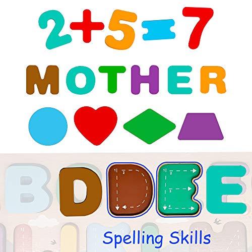 Puzzle In Legno Per Bambini 4 In 1 Alfabeto Numero Forma Orologio Giocattoli Da Puzzle Educativo Giocattoli Per Apprendimento Prescolare Regalo Di Compleanno Per Bambini Di 3 5 Anni 0 3
