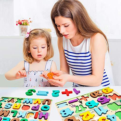 Puzzle In Legno Per Bambini 4 In 1 Alfabeto Numero Forma Orologio Giocattoli Da Puzzle Educativo Giocattoli Per Apprendimento Prescolare Regalo Di Compleanno Per Bambini Di 3 5 Anni 0 4
