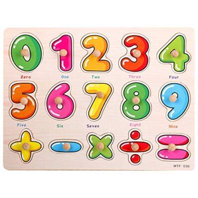 Puzzle In Legno Per Bambininumeri Educativi Puzzle 0 9 Puzzle Con Piolo Gioco Da Tavolo Per Lapprendimento Della Matematica Blocco Impilabile Per Ragazzi E Ragazze 0