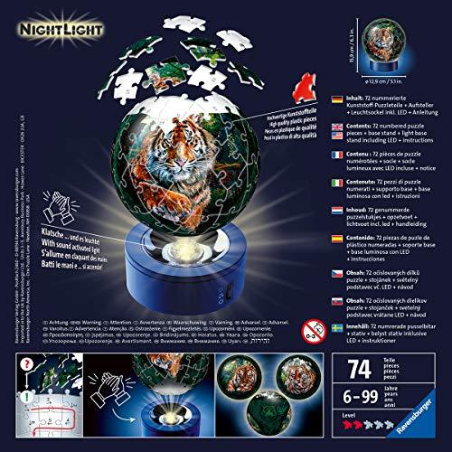 Ravensburger Puzzle Raubkatzen Nachtlicht 3d 11248 Luce Notturna Gatti Predatori 72 Pezzi Dai 6 Anni In Su Multicolore 0 1
