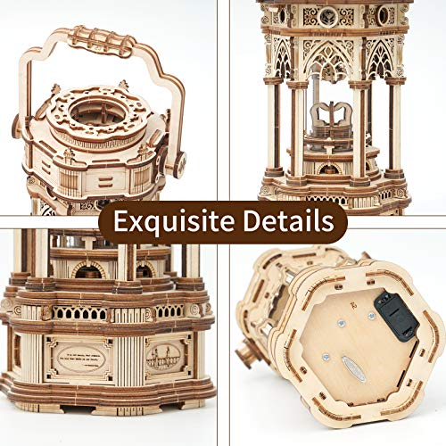 Robotime 3d Puzzle Lanterna In Legno Vintage Carillon Con Luce A Led Puzzle Meccanico Kit Di Costruzione Di Modelli In Legno Per Adolescenti E Adulti 0 1