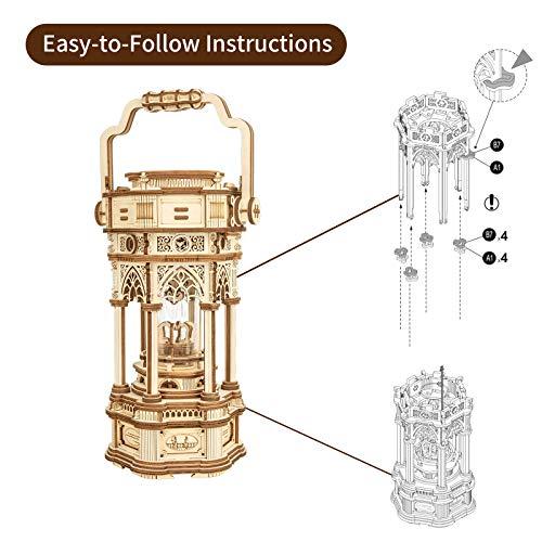 Robotime 3d Puzzle Lanterna In Legno Vintage Carillon Con Luce A Led Puzzle Meccanico Kit Di Costruzione Di Modelli In Legno Per Adolescenti E Adulti 0 2