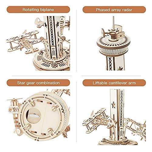 Robotime Carillon Meccanico Puzzle 3d Kit Modello In Legno Torre Di Controllo Dellaria Costruzione Di Puzzle Tagliati Al Laser Mestiere Per Costruire I Tuoi Kit Per Adulti E Adolescenti 0 1