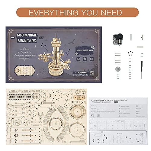 Robotime Carillon Meccanico Puzzle 3d Kit Modello In Legno Torre Di Controllo Dellaria Costruzione Di Puzzle Tagliati Al Laser Mestiere Per Costruire I Tuoi Kit Per Adulti E Adolescenti 0 5