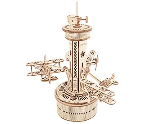 Robotime Carillon Meccanico Puzzle 3d Kit Modello In Legno Torre Di Controllo Dellaria Costruzione Di Puzzle Tagliati Al Laser Mestiere Per Costruire I Tuoi Kit Per Adulti E Adolescenti 0